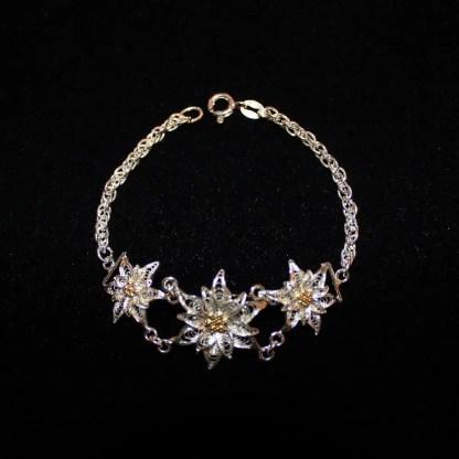Bracciale in filigrana d'argento con tre fiori di stella alpina cm 19.5