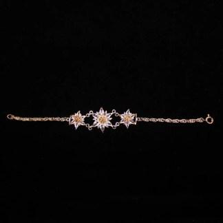 Bracciale in filigrana d'argento con cristalli Swarovski con tre fiori di stella alpina cm 19.5