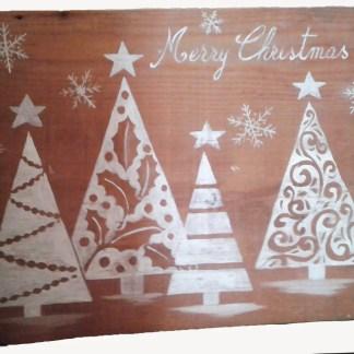 tavola in legno vecchio di abete dipinta con motivi natalizi