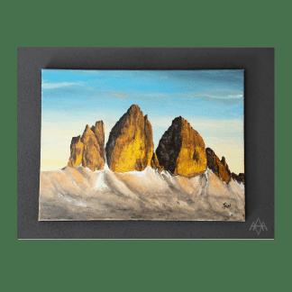 QUADRO ACRILICO SU TELA CM 40X30 Tre cime di Lavaredo Artigianato Artistico Ampezzano