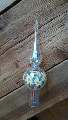 Puntale in vetro con stelle alpine dipinte a mano cm 20
