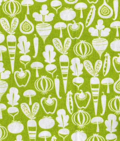 Tissu aux motifs de légumes sur fond vert – Artigina