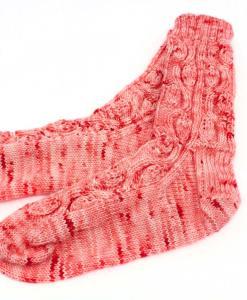 Bas de laine pour femme - Piment rouge - Fait main Artigina
