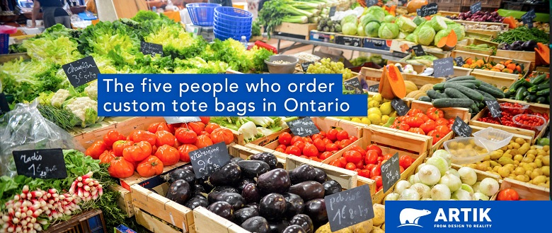 Five People Ordering Branded Tote Bags in Ontario