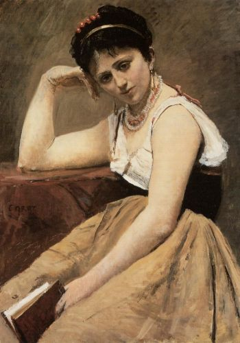 Interrupted Reading by Jean-Baptiste Camille Corot