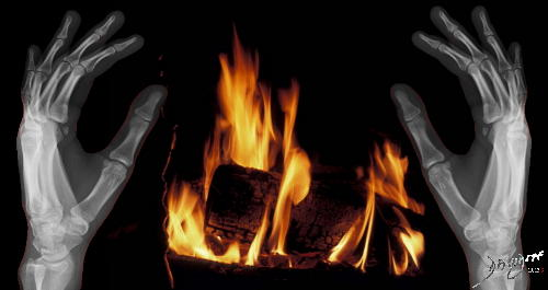 hands, bones, fire, X-ray, warmth, winter