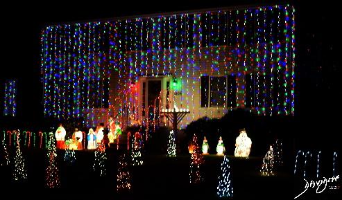 Christmas, lights, Channukah, menorah, nativity scene,