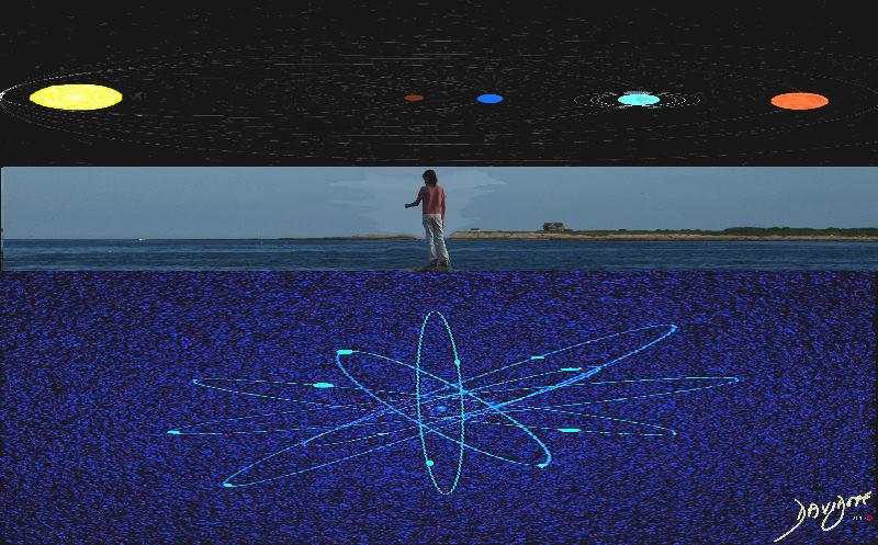 atom, universe, solar system, biology
