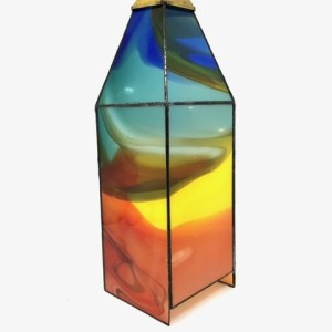 4 Sided Stained Glass Candle Display