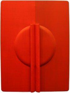 agostino bonalumi, rosso, tela estroflessa e olio, cm 120 x 90