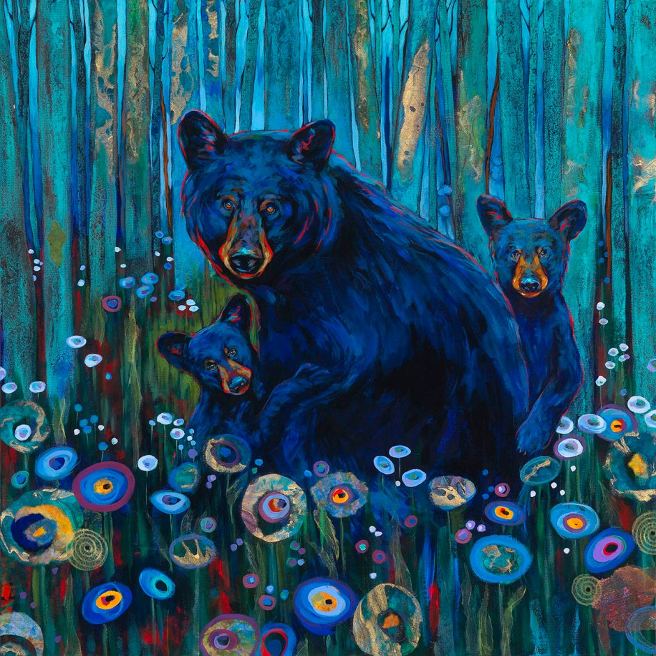 Painting of 3 bears by Kari Lehr
