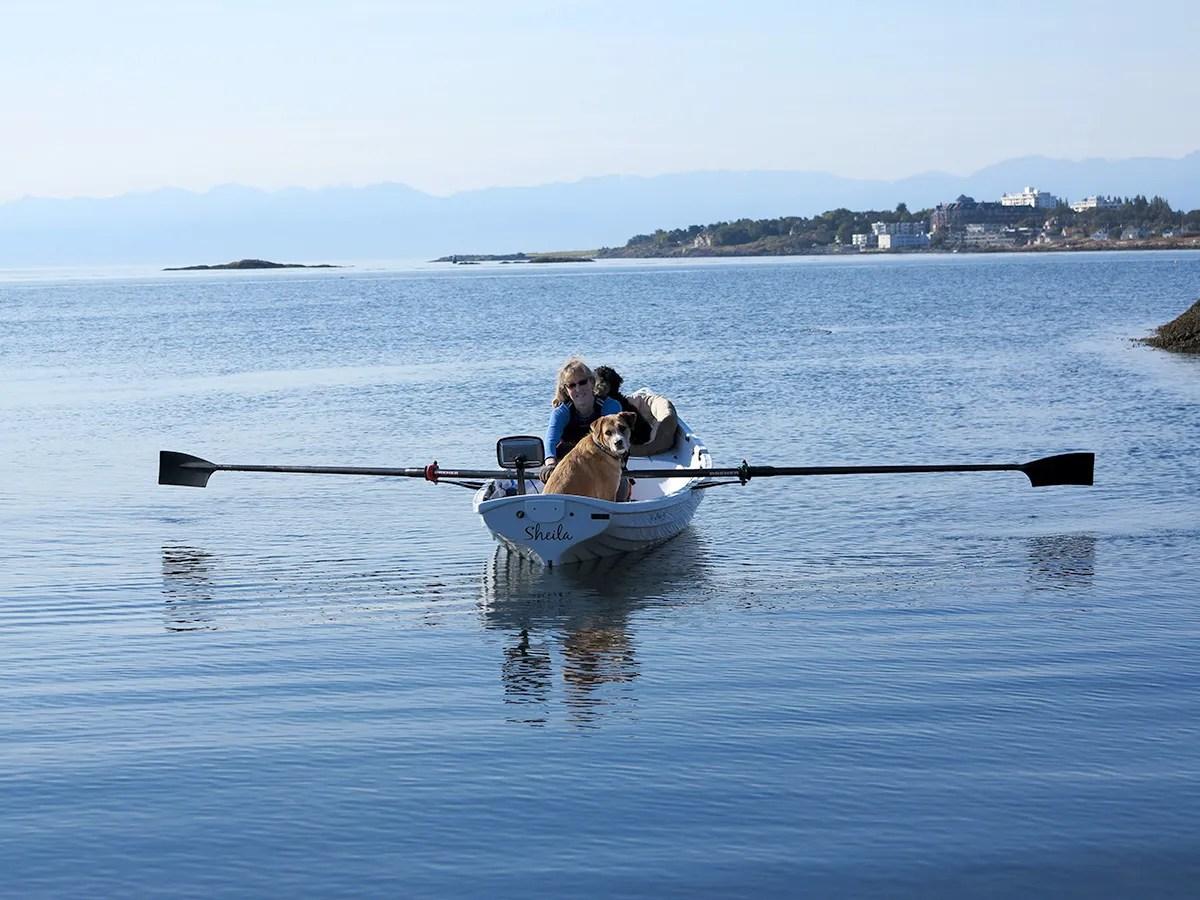 Artist Valerie Rolfe canoeing