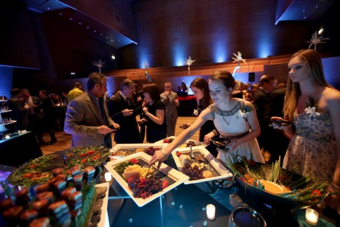 Guests at Thodos Dance's March 7 gala enjoyed a delicious Chicago Inspired buffet and passed hors d'oeuvres on the glass enclosed stage of the Pritzker Pavilion.