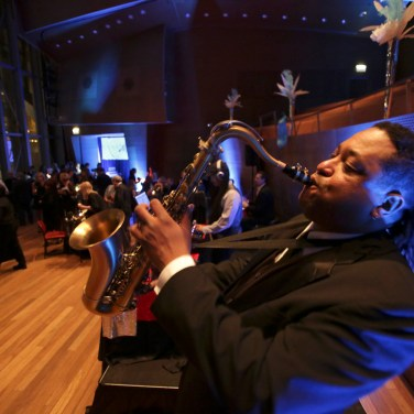 Saxophone player Skinny Williams helped entertain more than 150 guests on the stage of the Pritzker Pavilion at Thodos Dance's Chicago Inspired gala on March 7.