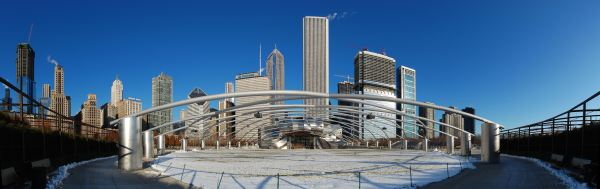 Chicago's skyline with the Jay Pritzker Pavilion in Millennium Park, whose Harris Theater for Music and Dance lies below ground. (Photo by Mike Warot [CC BY 2.0 (http://creativecommons.org/licenses/by/2.0)], via Wikimedia Commons)