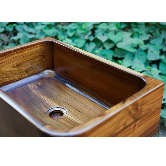 teak wood bath sink t1