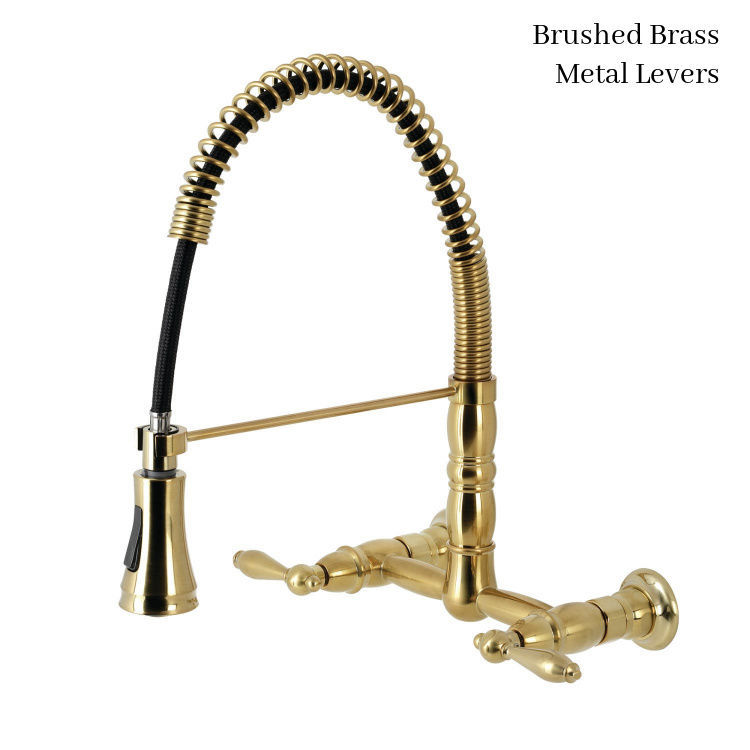 kingston brass gourmetier heritage wall mount kitchen faucet with lever handles
