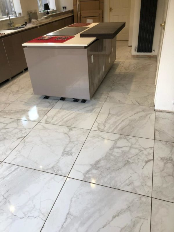 white marble effect tiles