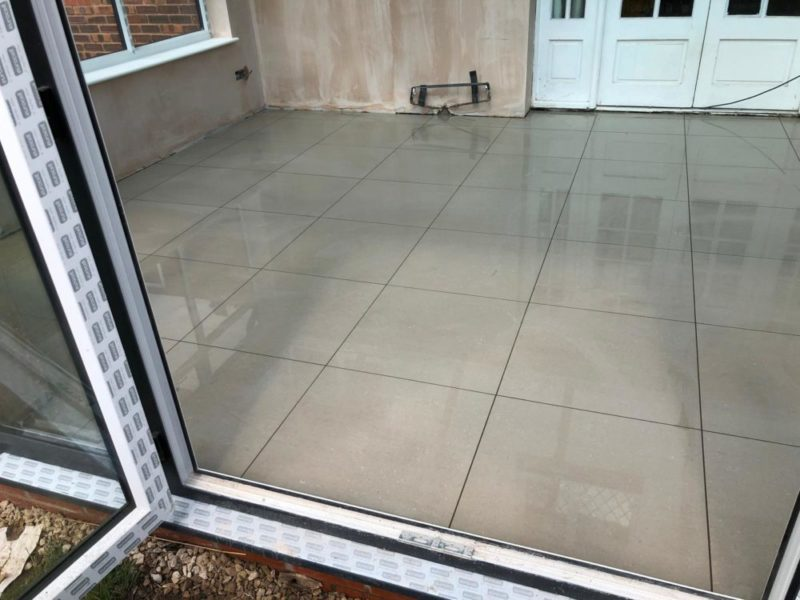 conservatory tiles in a gloss pebble large platform finish
