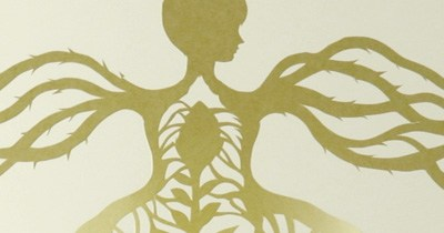 Growing Woman. Paper cut.