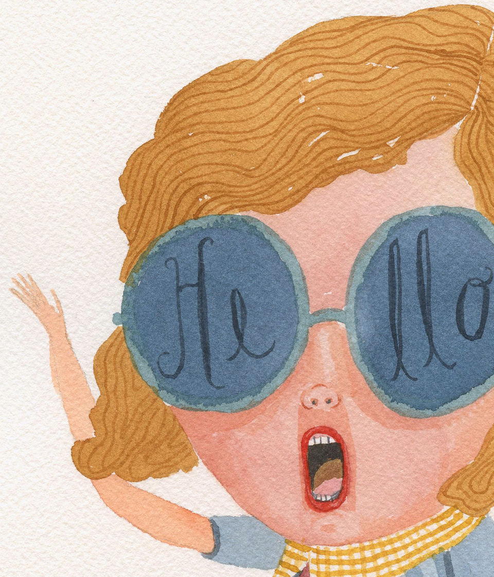 Hello. Watercolor by Elsa Mora (detail)