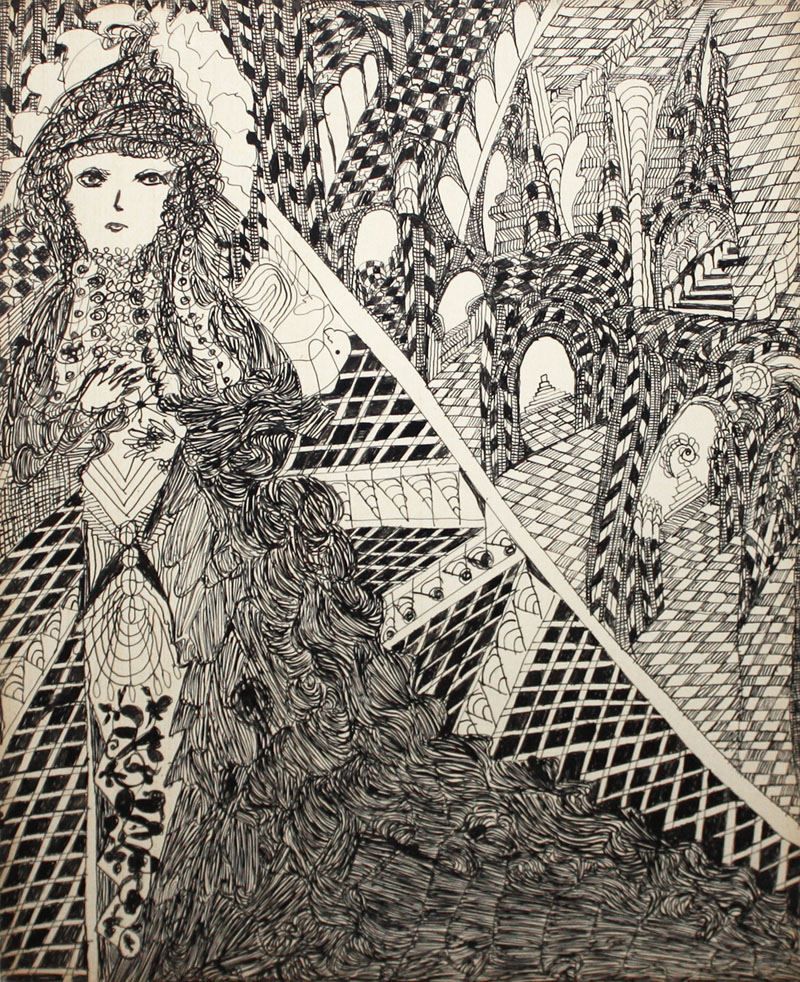 madge-gill-untitled-woman-with-patterned-archways-works-on-paper-drawings-watercolors-etc-ink-zoom