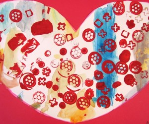 Stamped Valentines heart craft