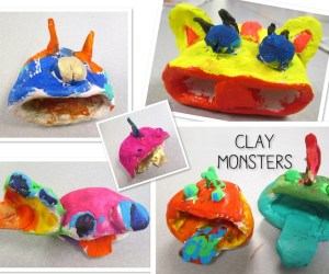 Clay Pinch Pot Monsters by 2nd Graders