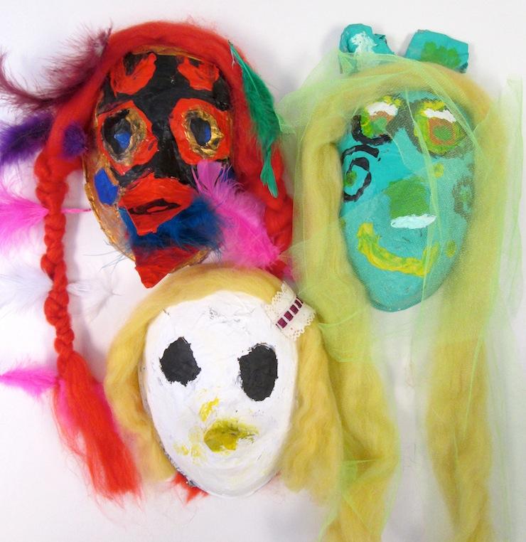 Kids Make Paper Mache Masks