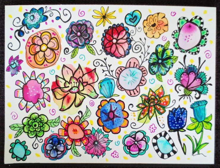 Watercolor Flower Doodle