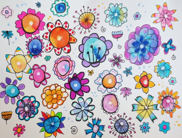 Watercolor Flower Doodles-- Easy & Fun!