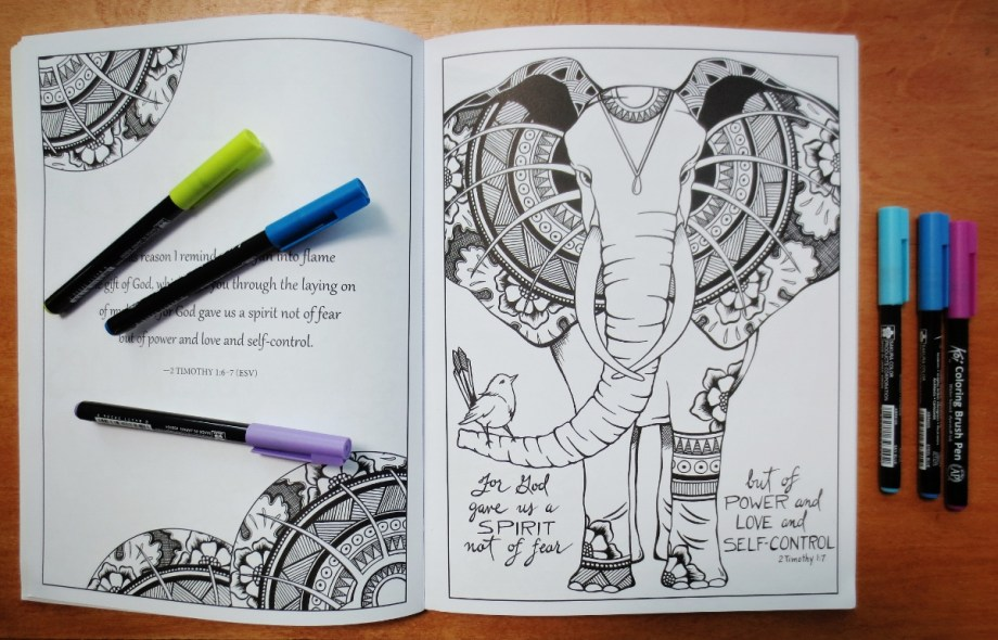 Elephant Coloring Page In Book 1200x770