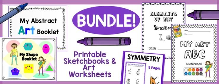 Printable Sketchbook and Art Worksheets Bundle
