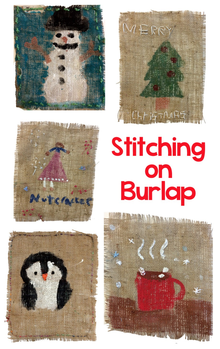 Stitching on Burlap