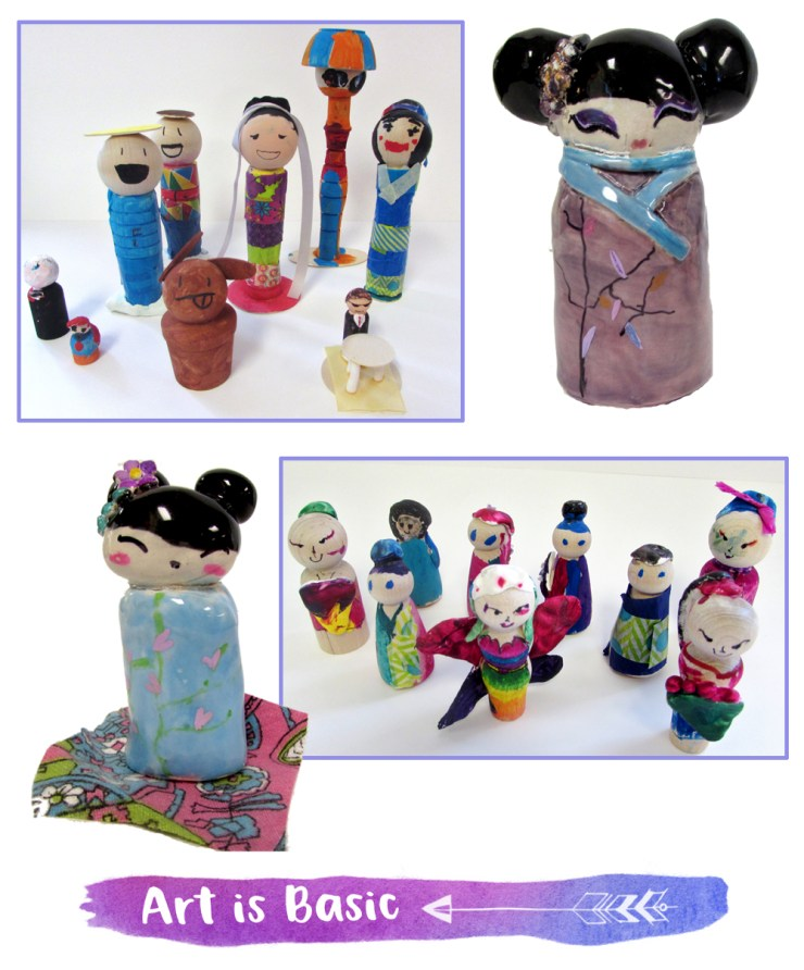 Clay Kokeshi and Wood Peg Dolls