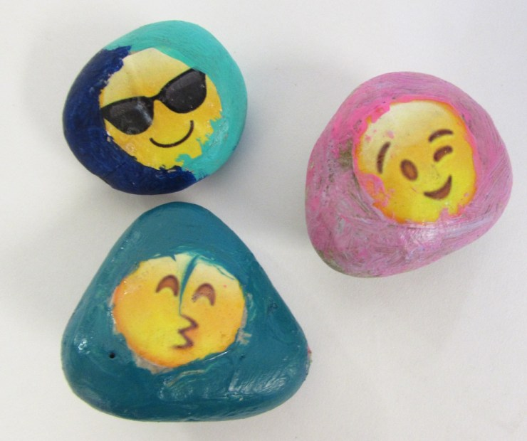 Painted Rocks with Magazine Words00007
