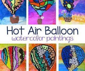 Hot Air Balloon Watercolor Paintings
