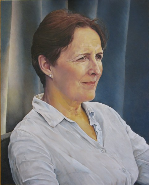 Oil Painting of Fiona Shaw by Artist Sarah Hope after Sky Arts Artist of the Year 2018