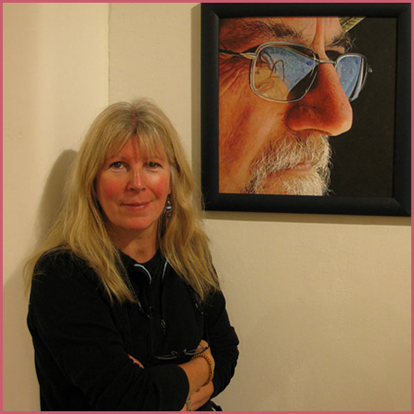 Artist Sarah Hope at Discerning Eye Exhibition with Deep End