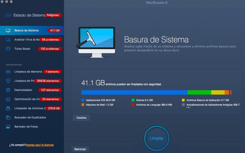 MACBOOSTER ELIMINAR VIRUS DE MAC LIBERAR ESPACIO EN MAC desinstalar apps en mac