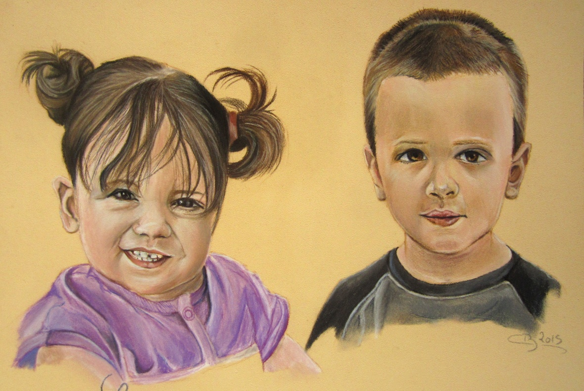 enfants aux pastels