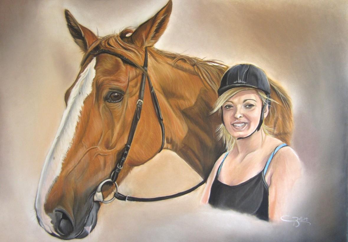 cheval cavaliere pastels secs