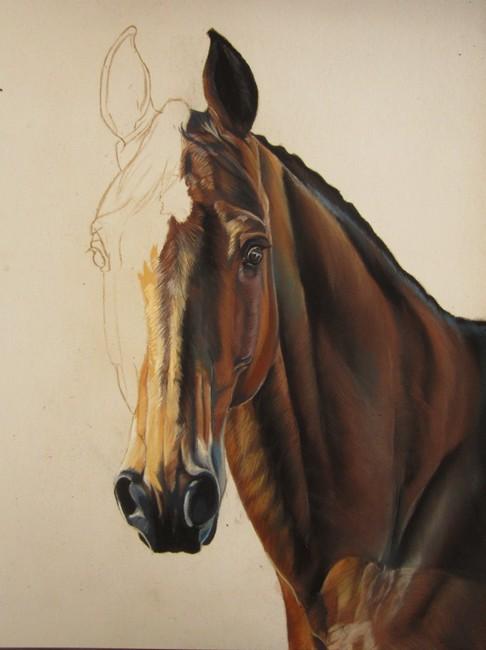 pastel cheval