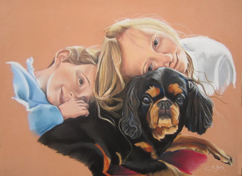 fillette chien pastels