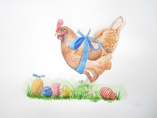 poule aquarelle