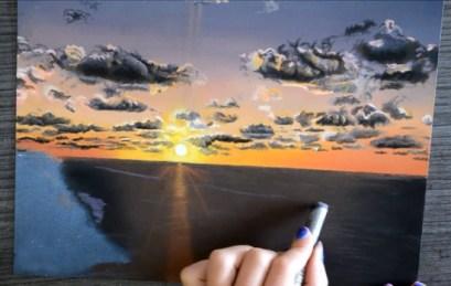 pastel coucher soleil