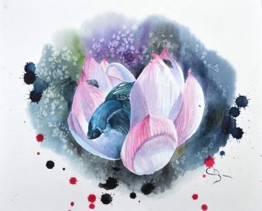 aquarelle lotus