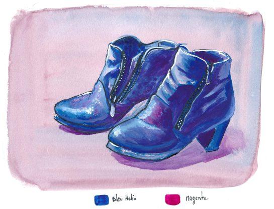 chaussures à la gouache