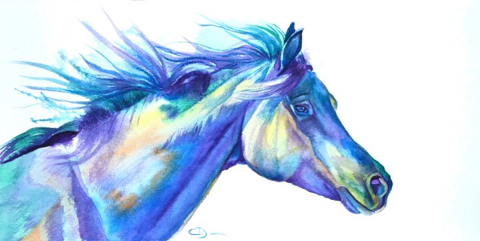 aquarelle cheval