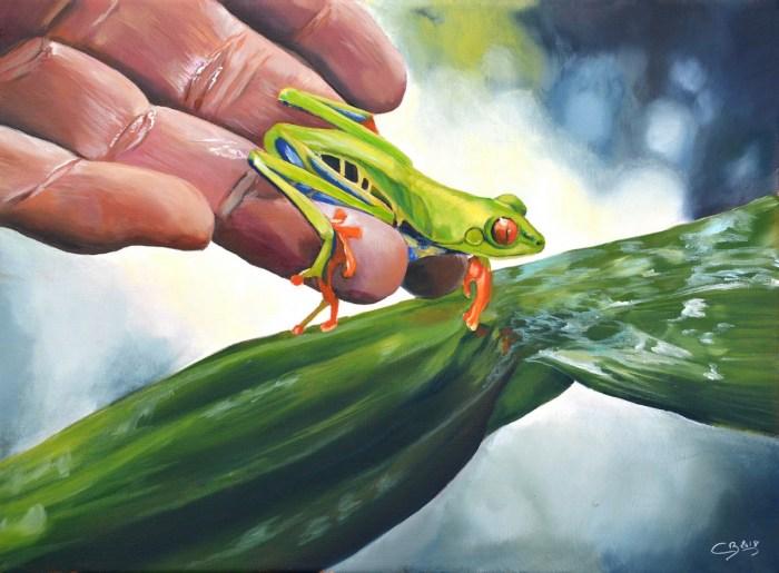 grenouille peinture à l'huile